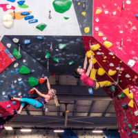 man and woman climbing at Inner Peaks Climbing & Fitness Charlotte NC